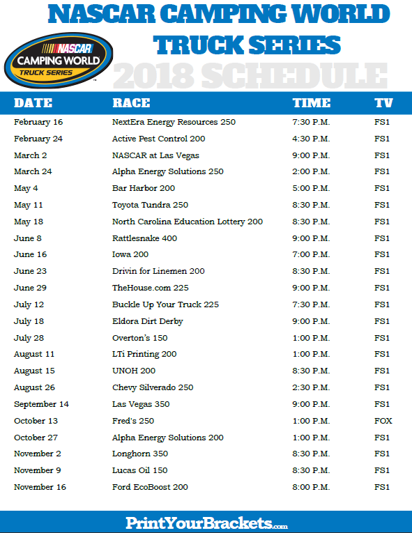 image regarding Printable Nascar Schedule named printable-nascar-tenting-worldwide-truck-collection-program - TROPTIONS